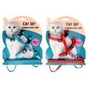Komplet regulowane szelki dla kota ze smyczą