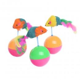 Wańka wstańka zabawka dla kotów niewychodzących myszka na piłce