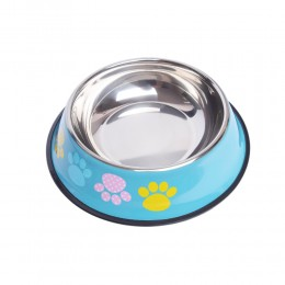 Duża metalowa miska dla dużego psa na gumie 1200 ml niebieska