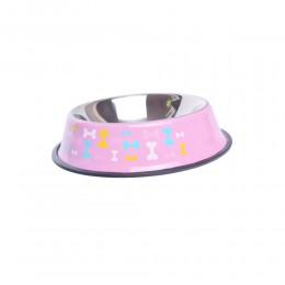 Metalowa miska dla psa na gumie antypoślizgowej 900 ml różowa