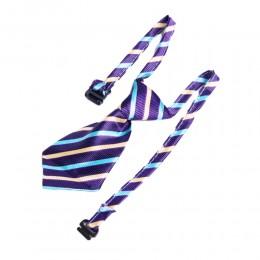 Krawat dla psa kota święta wesele fioletowy w paski obwód szyi 40cm