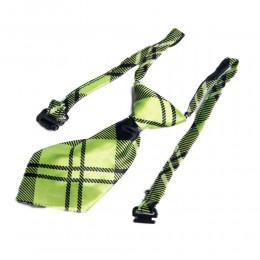 Krawat dla psa kota święta wesele zielony w kratkę obwód szyi 40 cm