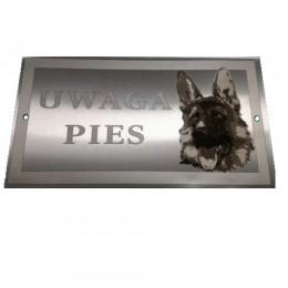 Tabliczka uwaga pies owczarek niemiecki / tabliczka ostrzegawcza pies
