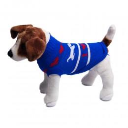 Niebieski sweterek ubranko dla psa w pieski i serduszka