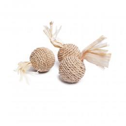 Eko zabawka dla kota piłka z trawy morskiej i kukurydzy