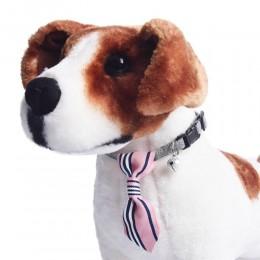 Obroża dla psa kota z krawatem i dzwoneczkiem różowa obwód szyi 18-28 cm