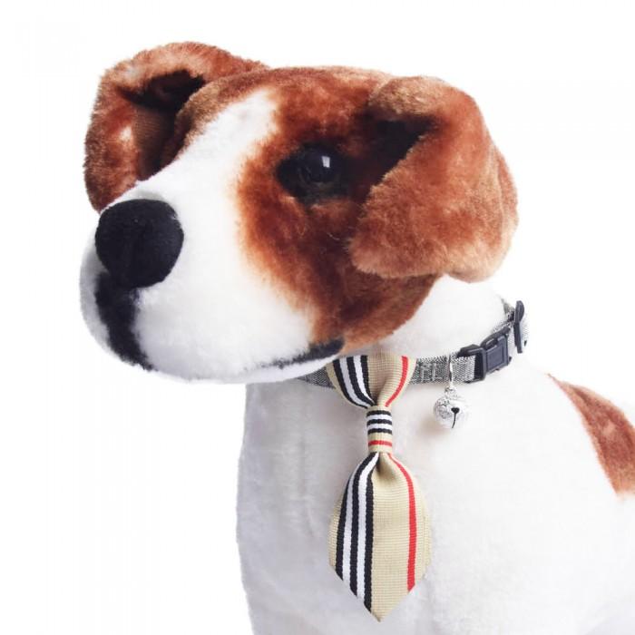 Obroża dla psa kota z krawatem i dzwoneczkiem beżowa 18-28 cm