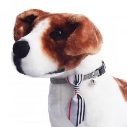 Obroża dla psa kota z krawatem i dzwoneczkiem szara obwód szyi 18-28 cm