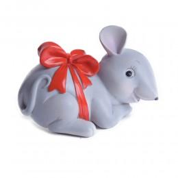 sztuczna mysz z kokardką myszka ceramiczna na prezent urodziny