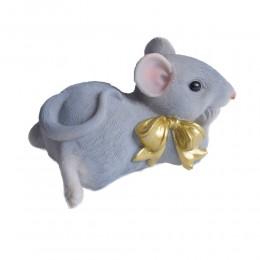 Leżąca sztuczna mysz z kokardką myszka skarbonka na prezent urodziny