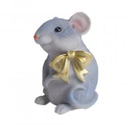 Siedząca sztuczna mysz z kokardką myszka skarbonka na prezent