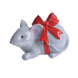 Szara sztuczna mysz myszka skarbonka ceramiczna na prezent urodziny