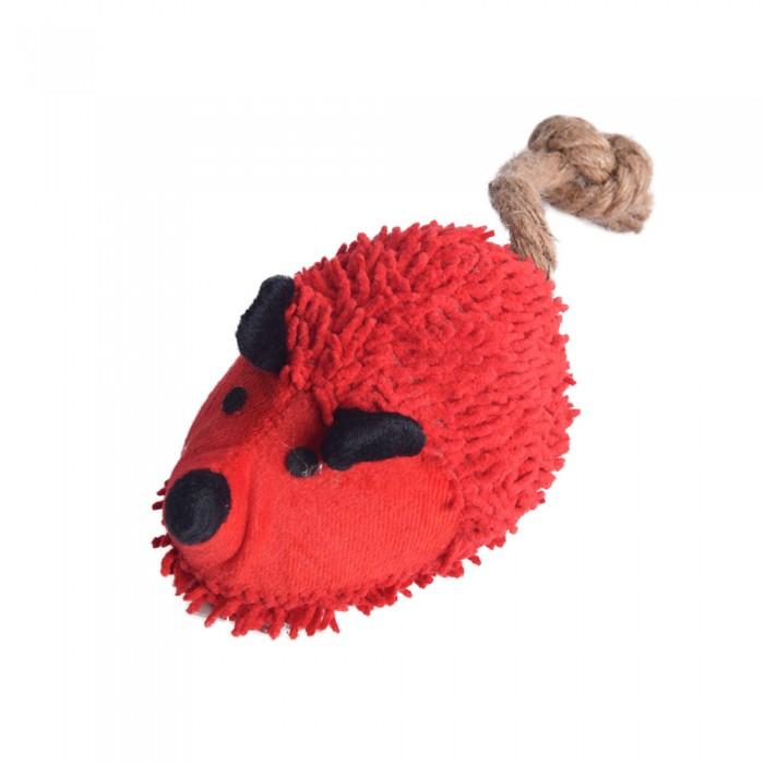 czerwony szarpak jeż myszka piszcząca zabawka dla psa