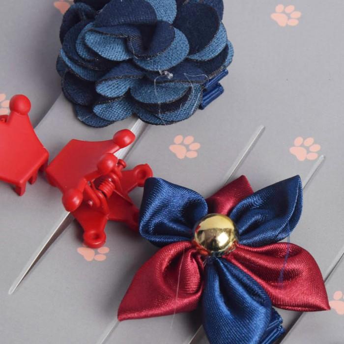 Zestaw granatowe spinki dla psa / kokardki spineczki gumki dla psa