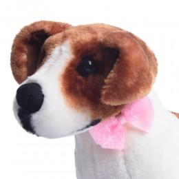 Różowa duża kokarda mucha dla psa Yorka Shih Tzu na gumce