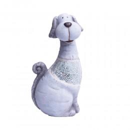 Dekoracyjna figurka siedzącego psa z kawałkami lustra 29 cm