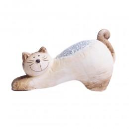 Gliniana figurka kota przeciągającego się z kawałkami szkła