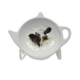 Skapek do herbaty talerzyk podkładka okapek skapka KROWA czarno biała