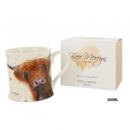 Kubek ceramiczny na prezent krowa Highland Cattle / wiejski kubek