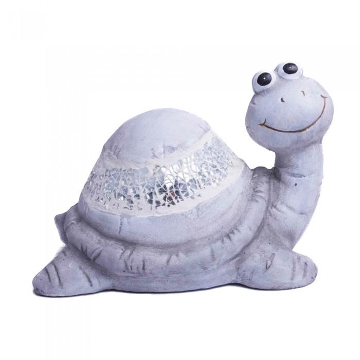 Gliniana figurka żółwia z kawałkami szkła / figurka żółw szary do domu