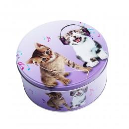 Puszka metalowa okrągła z kotami / pojemnik metalowy kot koty