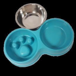 Zestaw niebieska miska spowalniająca jedzenie dla psa + miska na wodę