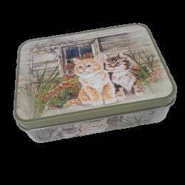 Prostokątna puszka metalowa z wieczkiem w kotki / pudełko pojemnik kot
