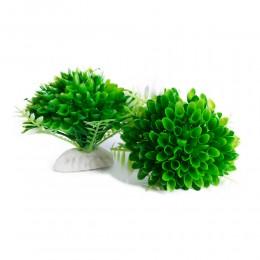 Zielone sztuczne rośliny na kamieniu dekoracja do akwarium 2 sztuki
