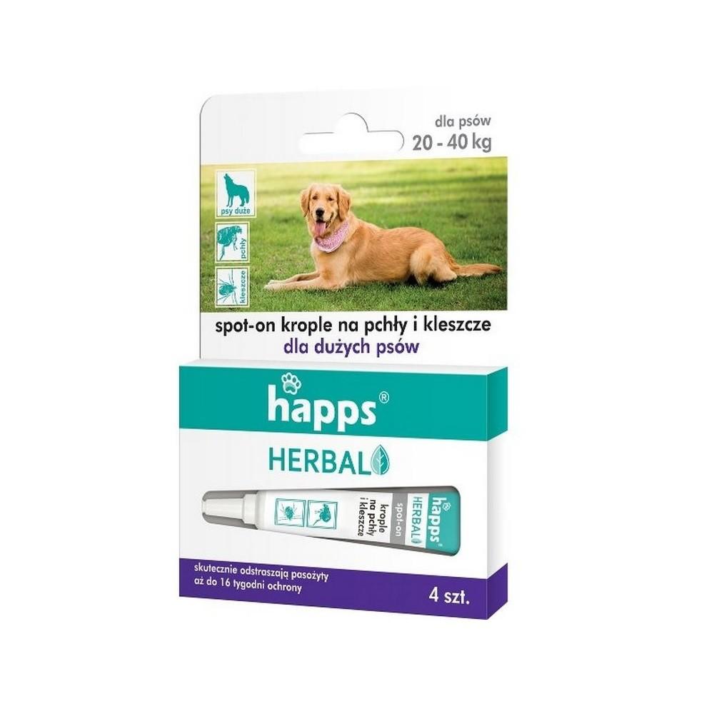 6cb0598f571d HAPPS Herbal krople na pchły i kleszcze dla dużych psów 20 - 40 kg