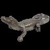 Krokodyl aligator figurka rzeźba dekoracyjna srebrna glamour 35cm