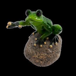 Figurka żaba na kamieniu żabka dekoracja ceramiczna 12 cm