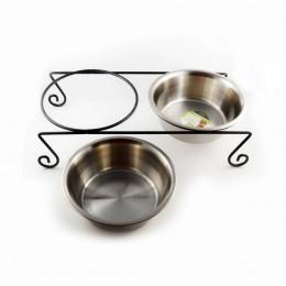 Podwójna miska na stojaku dla psa metalowa 1250 ml