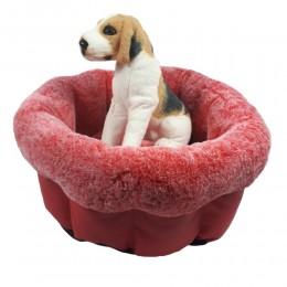 Ciepłe legowisko dla psa kota okrągłe miękkie posłanie + poduszka
