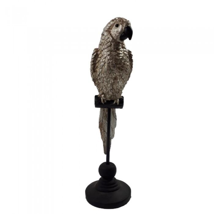 Dekoracja ozdoba PAPUGA SIEDZĄCA figurka srebrna na stojaku wys. 25 cm