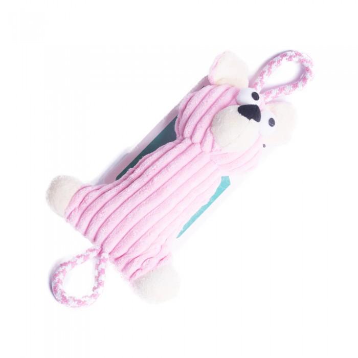 Sztruksowy szarpak gryzak zabawka dla psa RÓŻOWY MIŚ