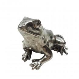 Srebrna figurka żaby żabka na szczęście w stylu glamour wys. 6,5 cm