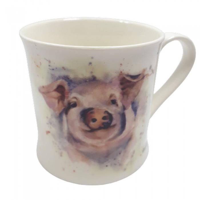 Kubek ceramiczny na prezent ŚWINKA / wiejski kubek Z PROSIACZKIEM