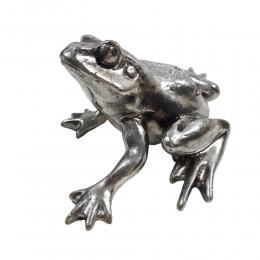 Srebrna figurka żaby żabka na szczęście w stylu glamour wys. 4,5 cm