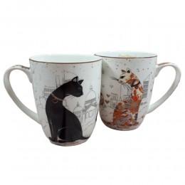 Ceramiczne kubki w koty 2 sztuki / kubki zakochane koty poj. 400ml