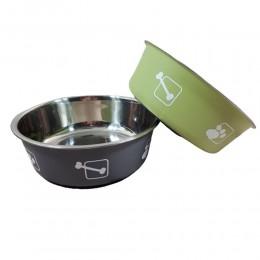 Miska metalowa dla psa z plastikową powłoką na gumie antypoślizgowej