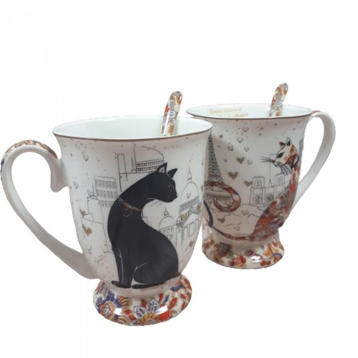 Ceramiczne kubki z kotami 300ml / kubek w koty PARIS / kubki w koty