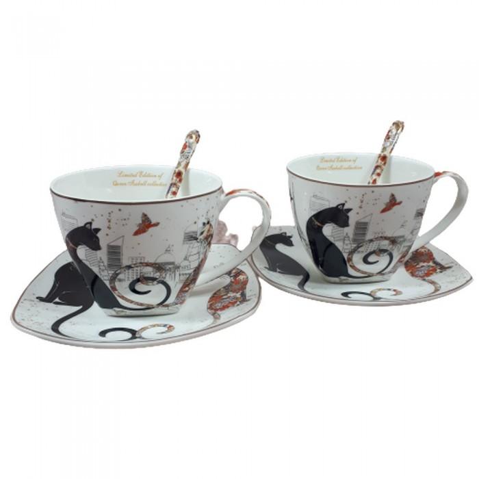 Filiżanki w koty PARIS / filiżanki do kawy na prezent ZAKOCHANE KOTY