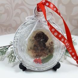 Decoupage bombka świąteczna 3D z pieskiem sprzedam