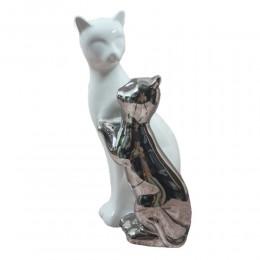 Figurka ceramiczna PARA KOTÓW / figurka koty biały i srebrny h 28cm