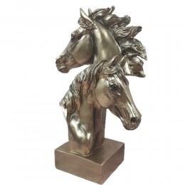 Złota figurka koni / figurka 2 głowy konia na prezent h 28,5cm