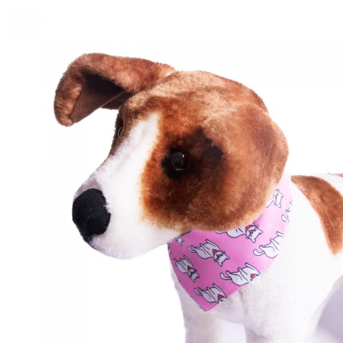 Obroża z chustą dla psa kota BANDAMA różowa w kotki (30-40cm)