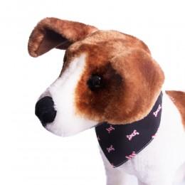 Czarna obroża z bandamką dla psa 30-40cm / obroża z chustą dla psa