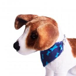 Obroża bandamka dla psa z chustą granatowa w kosteczki 30-40cm