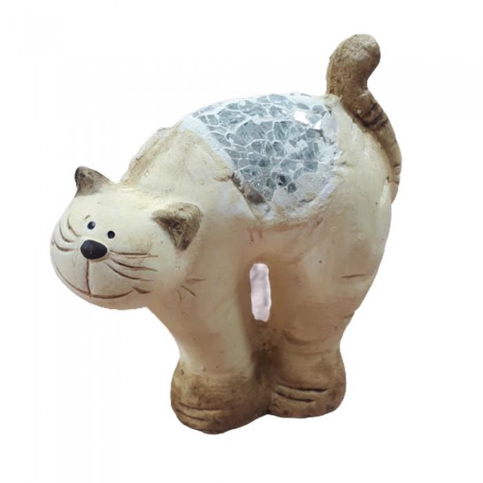 Dekoracyjna figurka kota na prezent WYGIĘTY KOT z kawałkami szkła