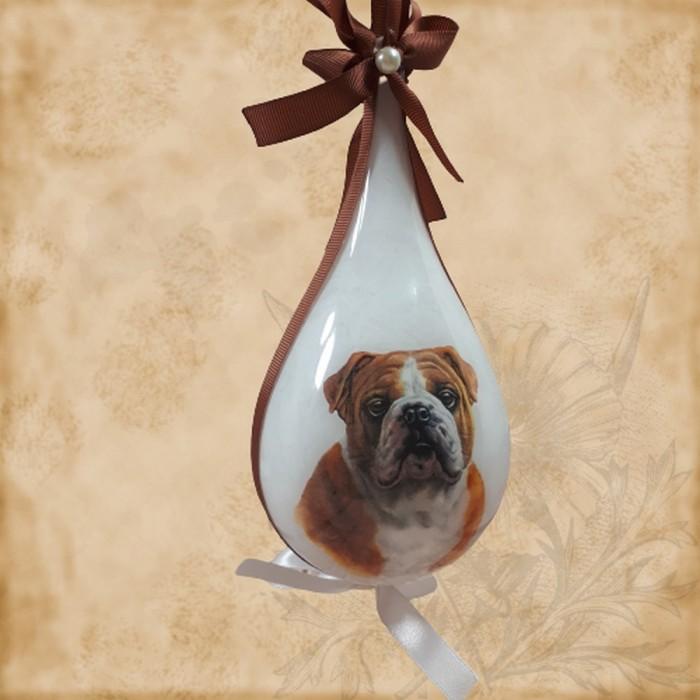 Bombka świąteczna łezka z motywem psa BULDOG ANGIELSKI